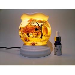Bộ 1 đèn xông tinh dầu Bát Tràng và 1  tinh dầu Sả Chanh NEOP 10ml