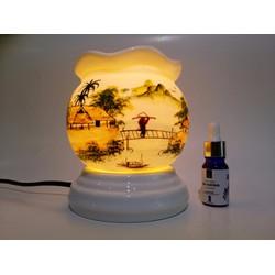 Bộ 1 đèn xông tinh dầu Bát Tràng và 1 tinh dầu Oải Hương NEOP 10ml
