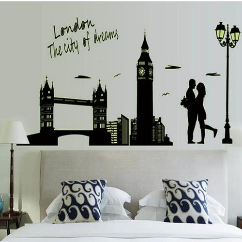 Decal dán tường thành phố london dạ quang binbin pk99