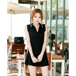 Đầm đen cổ viền trắng