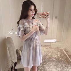 Đầm suông dập ly phối ren đơn giản xinh xắn