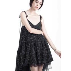 Đầm 2 đây chấm bi đen