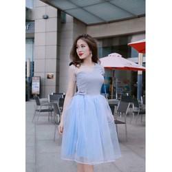 Đầm xoè công chúa tùng lưới eo nơ - 5039.DZO