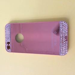 Apple iPhone 5 5S SE - Ốp lưng tráng gương đính đá viền kim loại