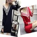 Đầm len nữ cổ tim thủy thủ - Hàng Thái đẹp
