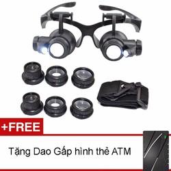 Kính lúp sửa chữa kính Zoom 10x 15x 20x 25x Tặng dao gấp hình ATM