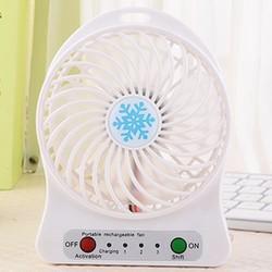 Quạt hoa tuyết 3 cấp độ pin sạc mini fan Phụ kiện cho bạn Trắng