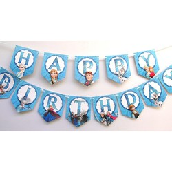 Dây chữ Happy Birthday sinh nhật công chúa Elsa xanh