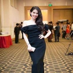 Đầm dự tiệc dài bệt vai ngang màu đen sang trọng DDH336