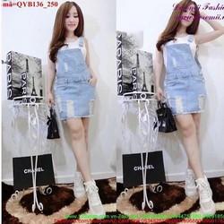 Váy yếm jean rách bụi bặm cực đáng iu QYB136