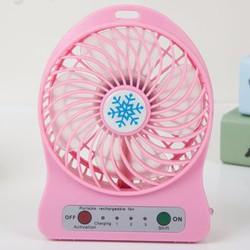 Quạt hoa tuyết 3 cấp độ pin sạc mini fan Phụ kiện cho bạn Hồng