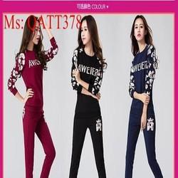 Sét thể thao nữ áo tay dài hoa văn đẹp phối quần dài trẻ trung QATT378