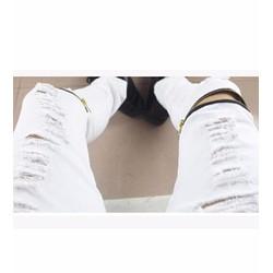 QUẦN JEANS NAM RÁCH DÂY KÉO Mã: ND0792 - TRẮNG