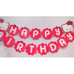 Dây chữ Happy Birthday sinh nhật kitty hồng