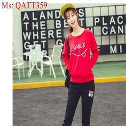 Sét thể thao nữ áo tay dài hình smile dễ thương phối quần dài QATT359
