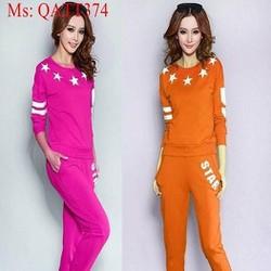 Sét thể thao nữ áo dài tay hình ngôi sao và quần dài trẻ trung QATT374