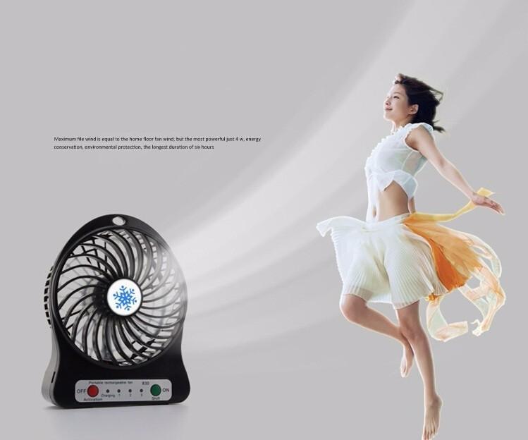 Quạt hoa tuyết 3 cấp độ pin sạc mini fan Phụ kiện cho bạn Trắng 19