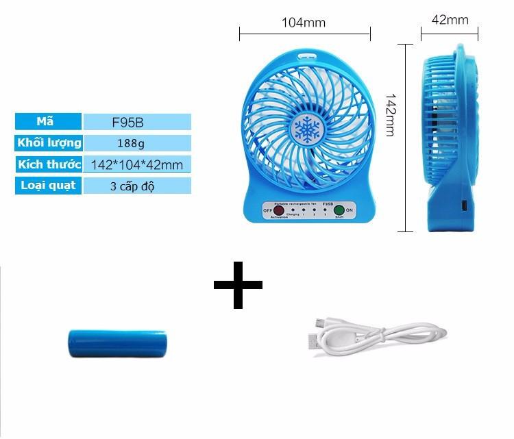Quạt hoa tuyết 3 cấp độ pin sạc mini fan Phụ kiện cho bạn Trắng 5