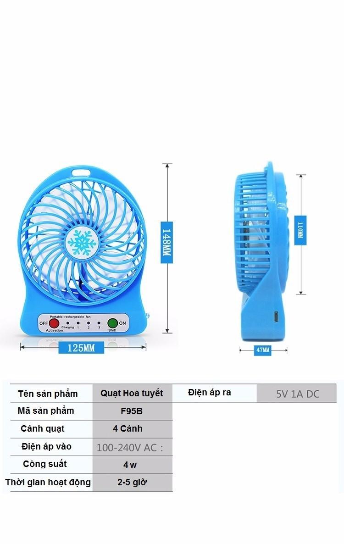 Quạt hoa tuyết 3 cấp độ pin sạc mini fan Phụ kiện cho bạn Trắng 6