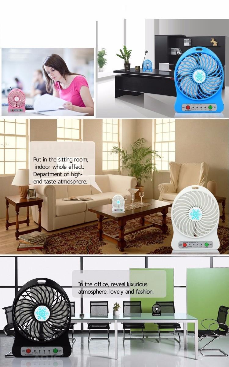 Quạt hoa tuyết 3 cấp độ pin sạc mini fan Phụ kiện cho bạn Trắng 7