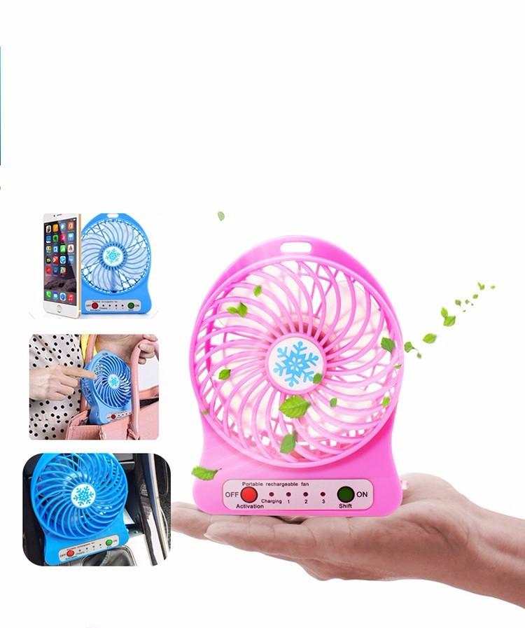 Quạt hoa tuyết 3 cấp độ pin sạc mini fan Phụ kiện cho bạn Trắng 3