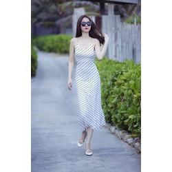 Đầm Maxi Chấm Bi 2 Dây Chéo Xinh Như Ngọc Trinh
