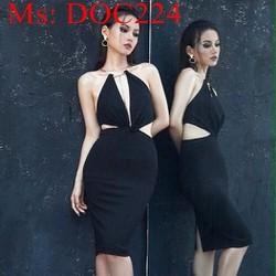 Đầm body đen xẻ cổ V hở eo phối xích vàng sang trọng DOC224