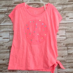 Áo thun cột nơ màu hồng dạ quang - bé 20-25kg