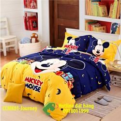 Bộ ga gối và bọc mền cotton cao cấp Mickey dễ thương dành cho các bé