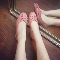 Giày cao gót da lộn có nơ