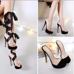 Giày cao gót chiến binh dây ruy băng 2 phong cách