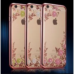 Ốp lưng hoa hồng đính đá viền rosegold cho iphone 7 - Giá Cực Sốc