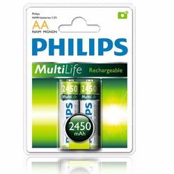 Pin sạc Philips AA - Vỉ 2 viên NiMH 2450mAh Xanh lá