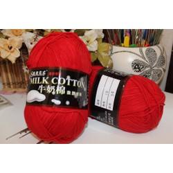 Len cotton Milk 125gr loại 1 màu đỏ M10