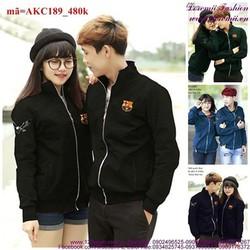 Áo khoác cặp đôi kaki logo trẻ trung sành điệu cAKC189