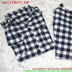 Sét áo váy cặp sọc ca rô cá tính dễ thương ATD113