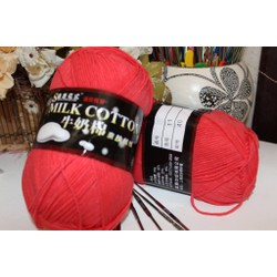 Len cotton Milk 125gr loại 1 màu hồng đỏ m11