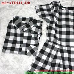 Set áo váy cặp sọc ca rô cá tính dễ thương ATD114