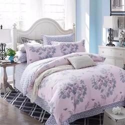 Bộ chăn ga họa tiết hoa văn màu hồng