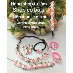 bộ phụ kiện tóc hoa hồng handmade cực xinh