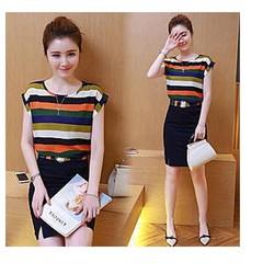 Sét áo phối màu chân váy - LN1278 - GS210