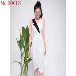 Đầm body form dài xẻ cổ vest 1 bên phối màu sành điệu trẻ trung DOC199