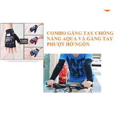 Combo găng tay chống nắng AquaX và găng tay phượt hở ngón