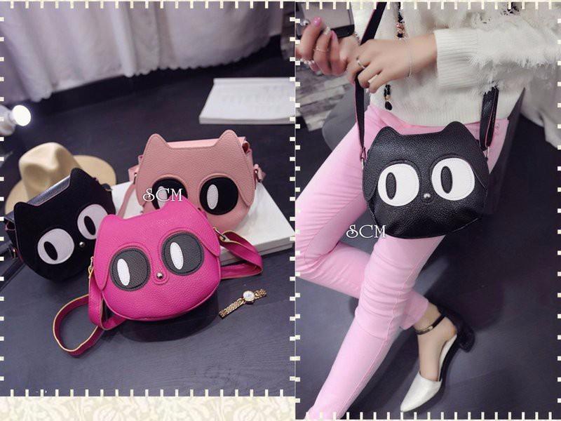 Túi đeo chéo nữ hình mèo mắt to ngộ nghĩnh 1