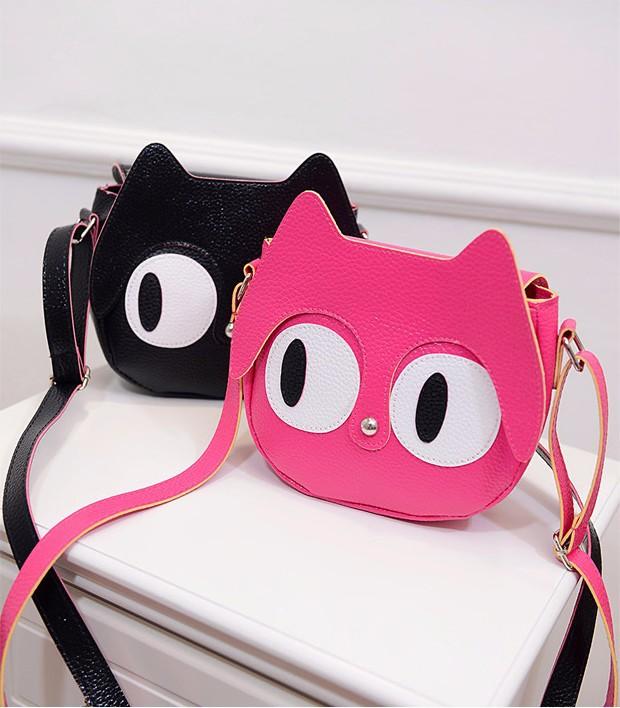 Túi đeo chéo nữ hình mèo mắt to ngộ nghĩnh 4