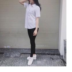 áo sơ mi tay ngắn zara cổ bẻ màu trắng đen
