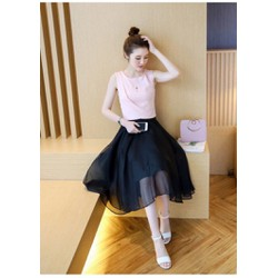Set chân váy + áo hồng
