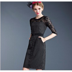 Đầm suông phối ren thời trang cao cấp 2016 - #1706