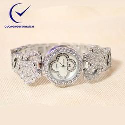 Đồng hồ nữ bs chính hãng mặt họa tiết hoa sang trọng BS09 - Màu trắng