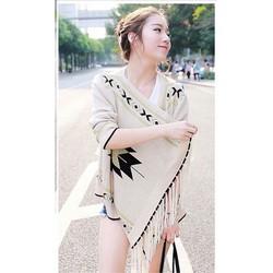 Hàng Thái : Áo khoác len thổ cẩm tua rua So Hot